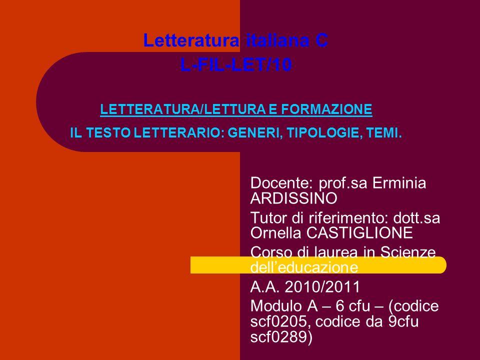 Letteratura italiana C L-FIL-LET/10 LETTERATURA/LETTURA E FORMAZIONE IL TESTO LETTERARIO: GENERI, TIPOLOGIE, TEMI. Docente: prof.sa Erminia ARDISSINO