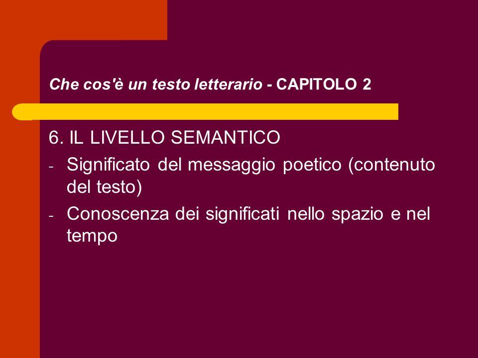 Che cos'è un testo letterario - CAPITOLO 2 6. IL LIVELLO SEMANTICO - Significato del messaggio poetico (contenuto del testo) - Conoscenza dei signific