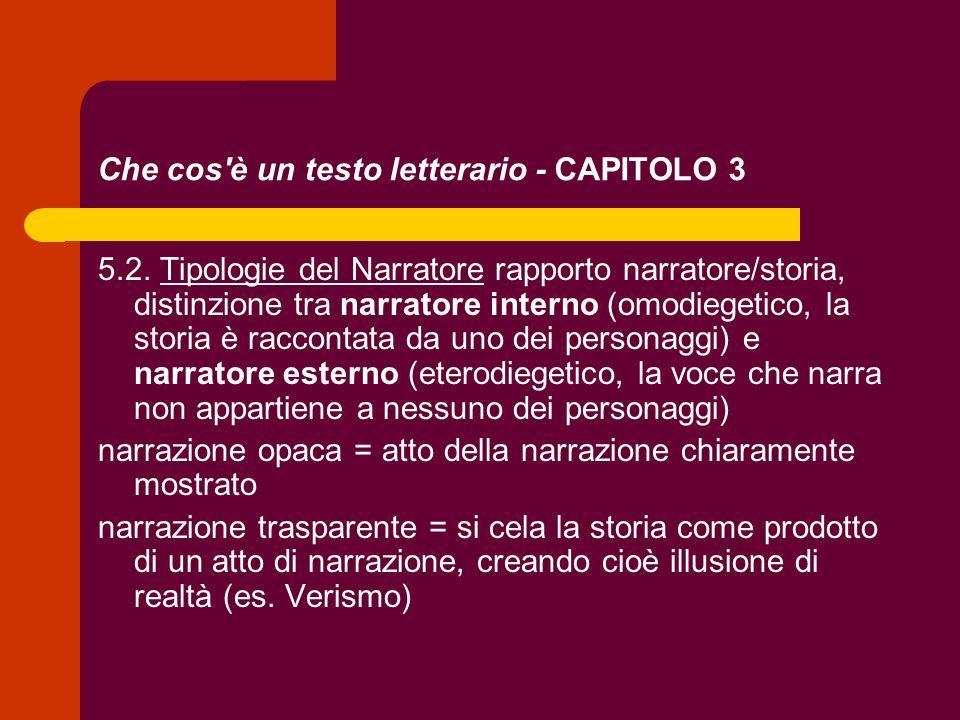Che cos'è un testo letterario - CAPITOLO 3 5.2. Tipologie del Narratore rapporto narratore/storia, distinzione tra narratore interno (omodiegetico, la