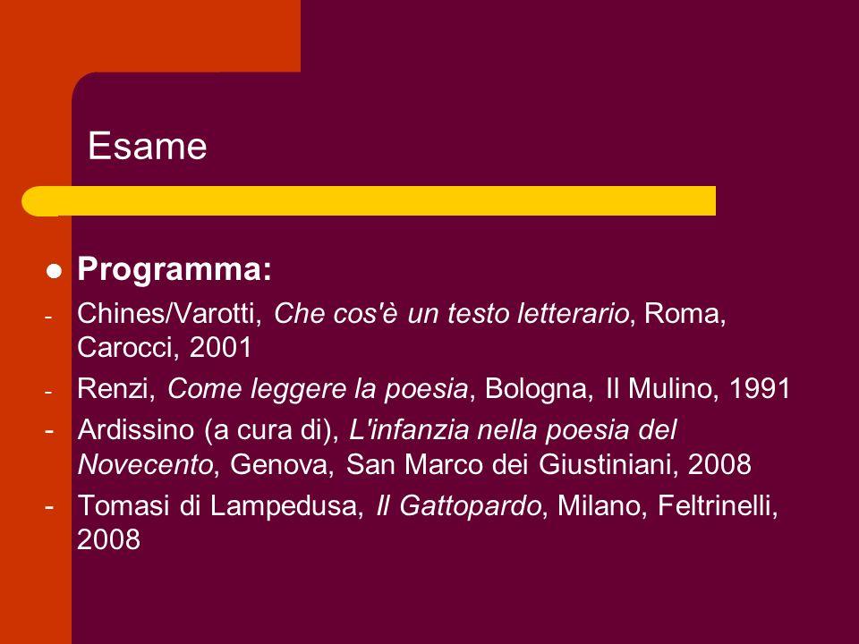 Esame Programma: - Chines/Varotti, Che cos'è un testo letterario, Roma, Carocci, 2001 - Renzi, Come leggere la poesia, Bologna, Il Mulino, 1991 - Ardi