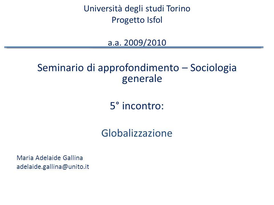 Università degli studi Torino Progetto Isfol a.a.