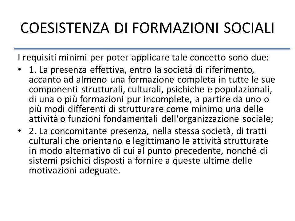 COESISTENZA DI FORMAZIONI SOCIALI I requisiti minimi per poter applicare tale concetto sono due: 1.