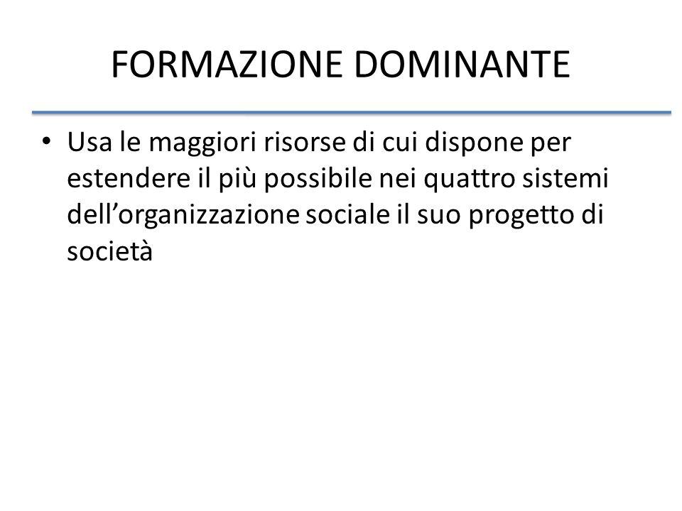 FORMAZIONE DOMINANTE Usa le maggiori risorse di cui dispone per estendere il più possibile nei quattro sistemi dellorganizzazione sociale il suo progetto di società
