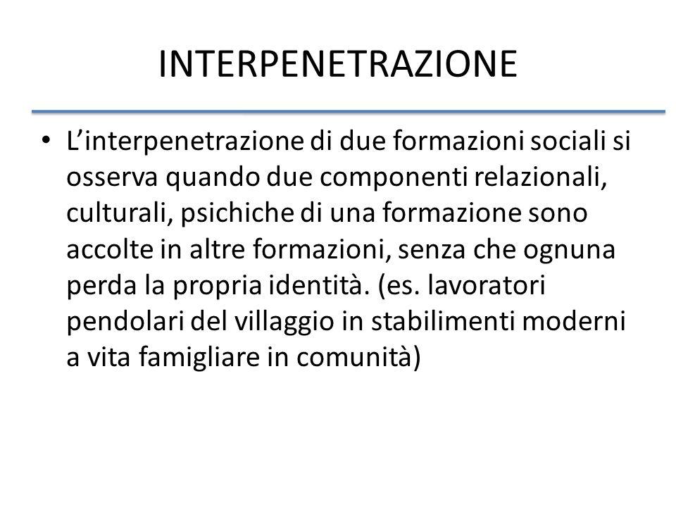 INTERPENETRAZIONE Linterpenetrazione di due formazioni sociali si osserva quando due componenti relazionali, culturali, psichiche di una formazione sono accolte in altre formazioni, senza che ognuna perda la propria identità.