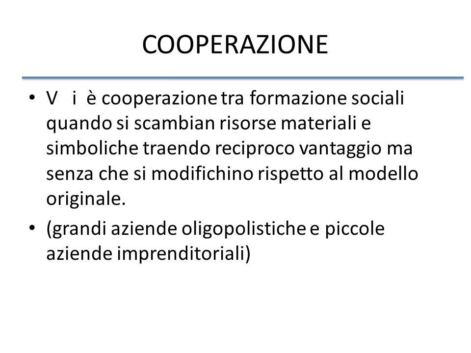 COOPERAZIONE V i è cooperazione tra formazione sociali quando si scambian risorse materiali e simboliche traendo reciproco vantaggio ma senza che si modifichino rispetto al modello originale.