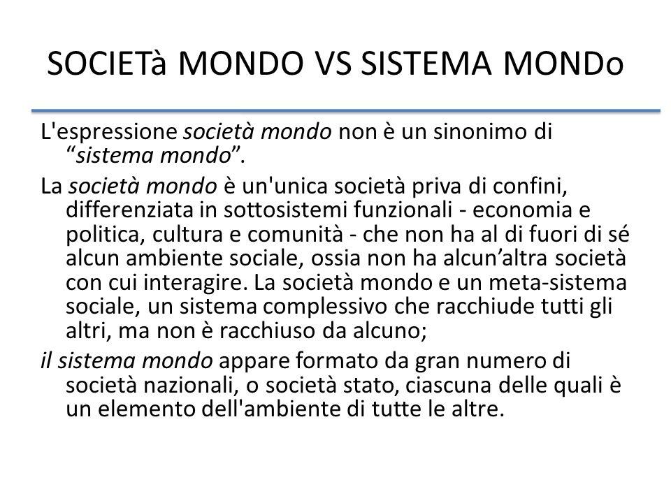 SOCIETà MONDO VS SISTEMA MONDo L espressione società mondo non è un sinonimo disistema mondo.