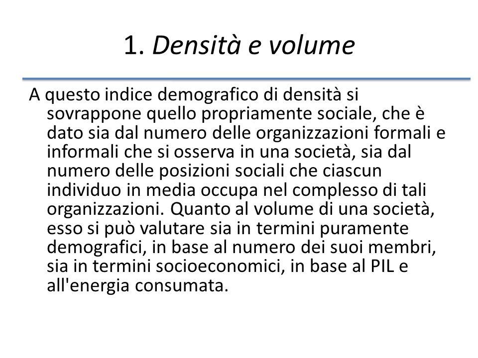 1. Densità e volume A questo indice demografico di densità si sovrappone quello propriamente sociale, che è dato sia dal numero delle organizzazioni f