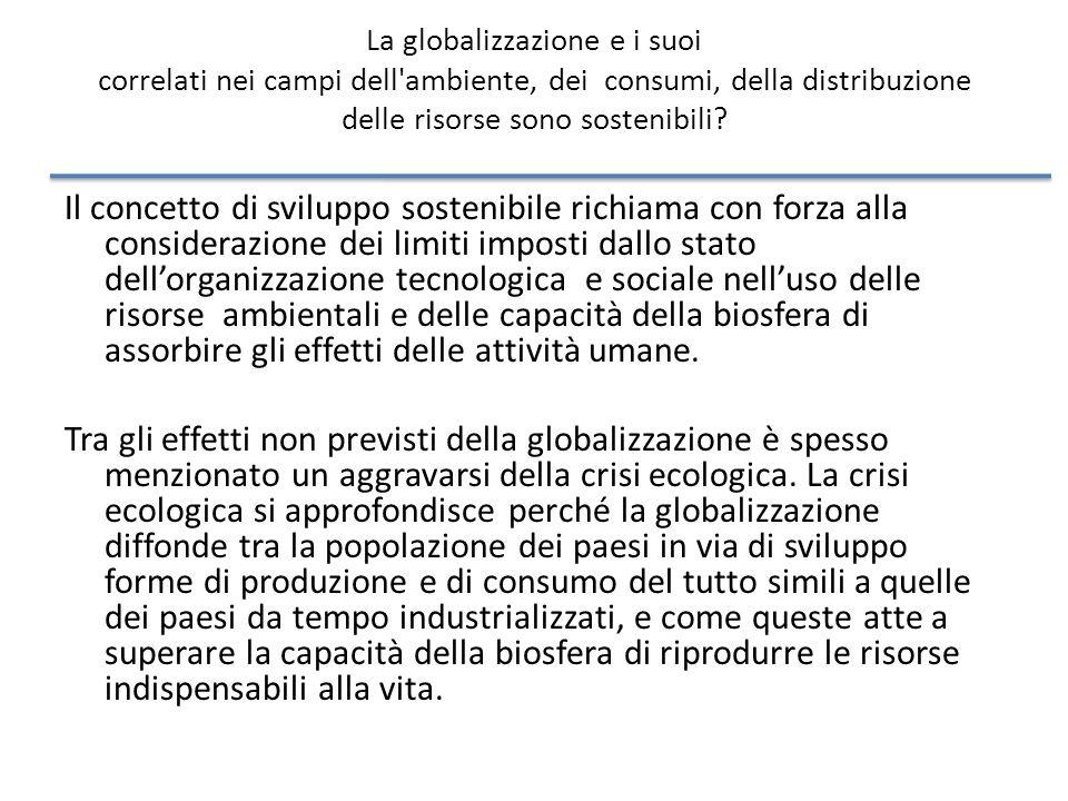 La globalizzazione e i suoi correlati nei campi dell ambiente, dei consumi, della distribuzione delle risorse sono sostenibili.