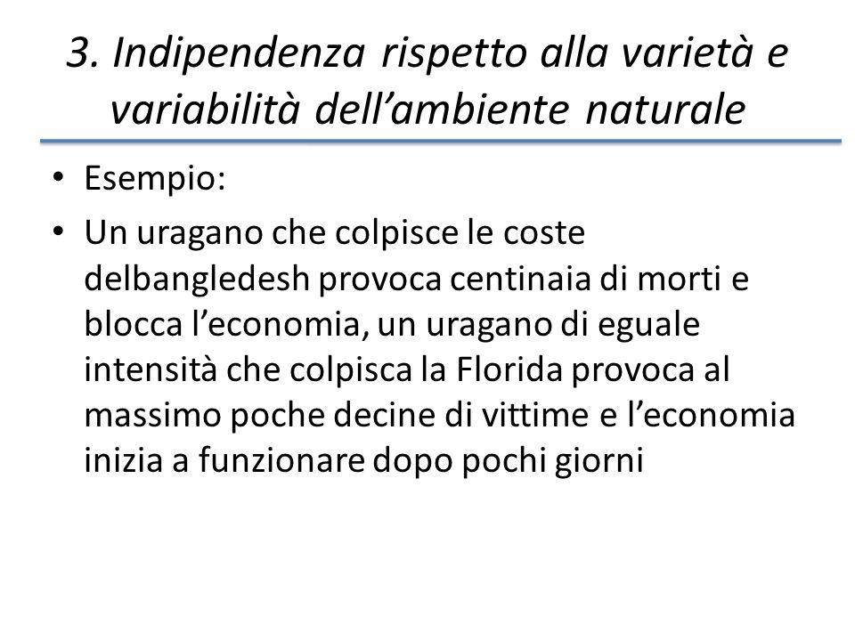 3. Indipendenza rispetto alla varietà e variabilità dellambiente naturale Esempio: Un uragano che colpisce le coste delbangledesh provoca centinaia di