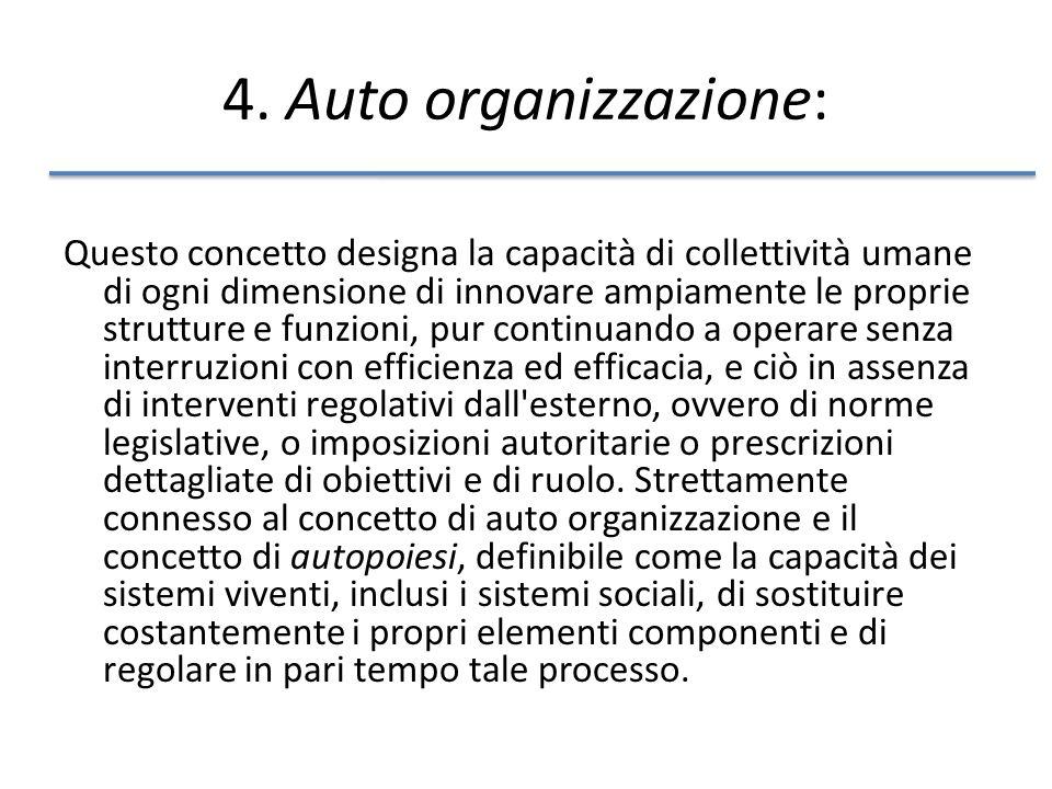 4. Auto organizzazione: Questo concetto designa la capacità di collettività umane di ogni dimensione di innovare ampiamente le proprie strutture e fun