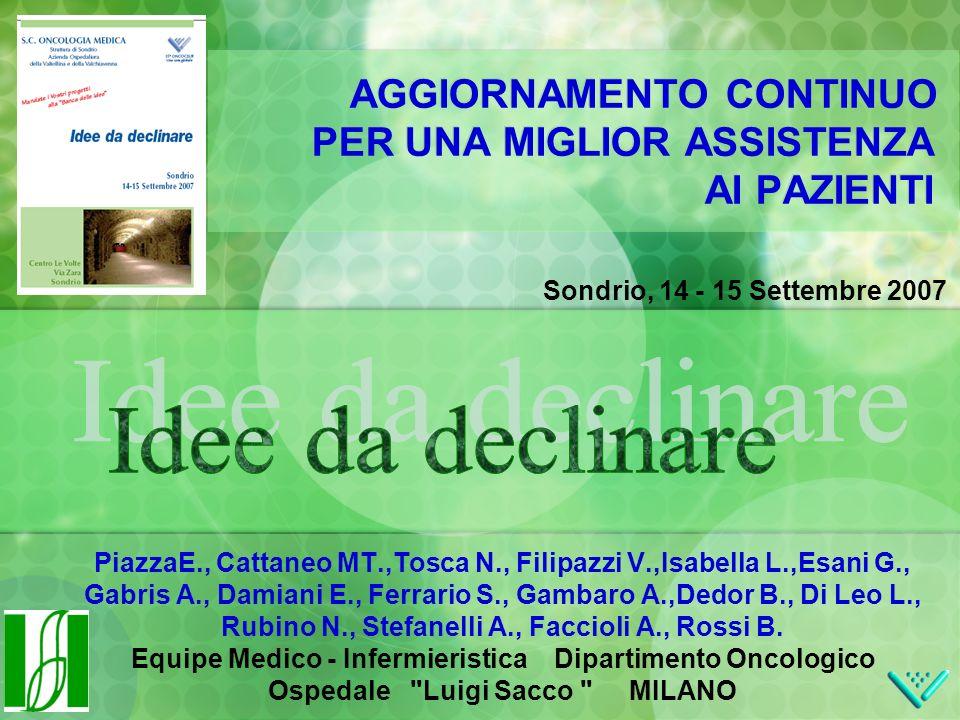 Sondrio, 14 - 15 Settembre 2007 AGGIORNAMENTO CONTINUO PER UNA MIGLIOR ASSISTENZA AI PAZIENTI PiazzaE., Cattaneo MT.,Tosca N., Filipazzi V.,Isabella L.,Esani G., Gabris A., Damiani E., Ferrario S., Gambaro A.,Dedor B., Di Leo L., Rubino N., Stefanelli A., Faccioli A., Rossi B.