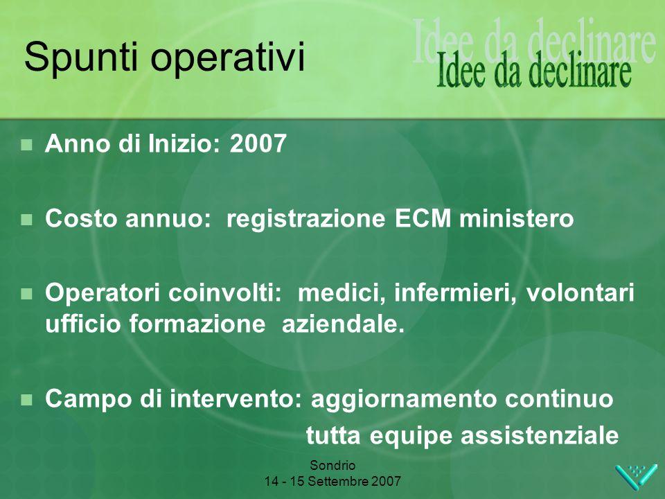 Sondrio 14 - 15 Settembre 2007 Spunti operativi Anno di Inizio: 2007 Costo annuo: registrazione ECM ministero Operatori coinvolti: medici, infermieri, volontari ufficio formazione aziendale.