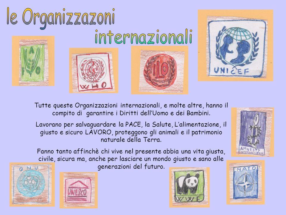 Tutte queste Organizzazioni internazionali, e molte altre, hanno il compito di garantire i Diritti dellUomo e dei Bambini. Lavorano per salvaguardare