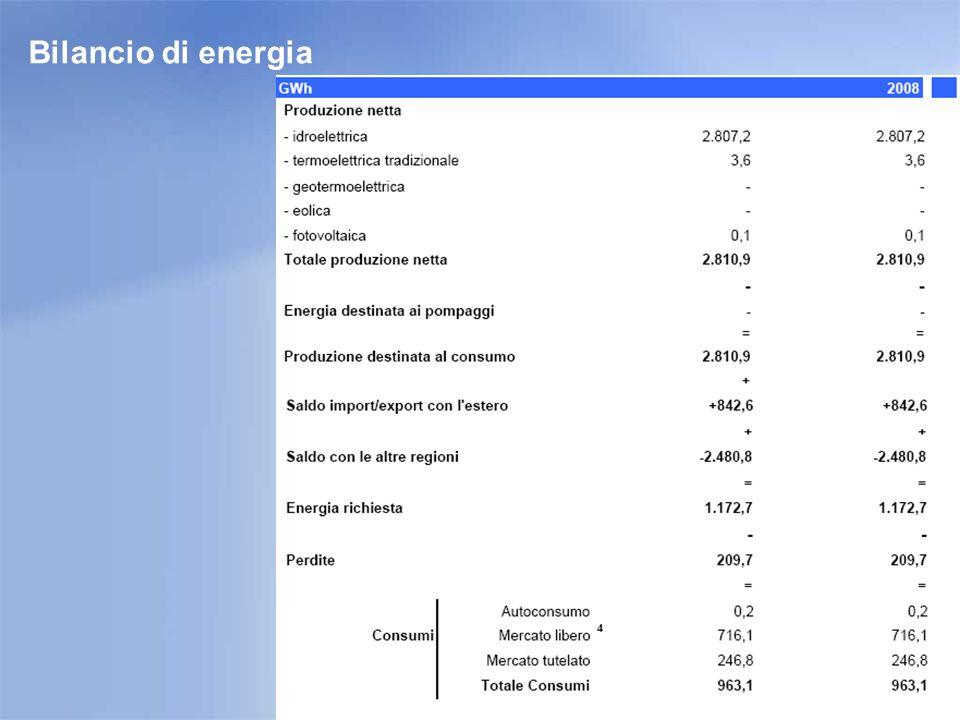 Energia richiesta e Consumi per categoria