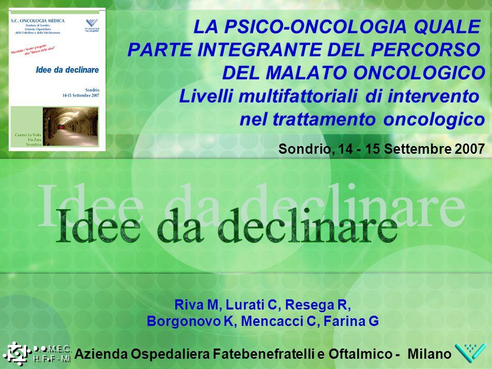 Sondrio, 14 - 15 Settembre 2007 LA PSICO-ONCOLOGIA QUALE PARTE INTEGRANTE DEL PERCORSO DEL MALATO ONCOLOGICO Livelli multifattoriali di intervento nel