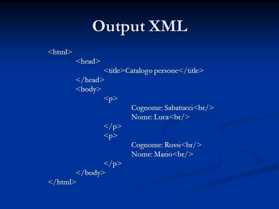 Output XML Catalogo persone Cognome: Sabatucci Nome: Luca Cognome: Rossi Nome: Mario