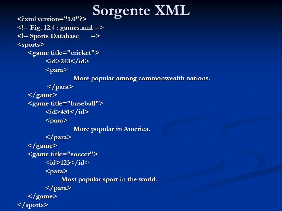 Sorgente XML <sports> <id>243</id><para> More popular among commonwealth nations. More popular among commonwealth nations. </game> <id>431</id><para>