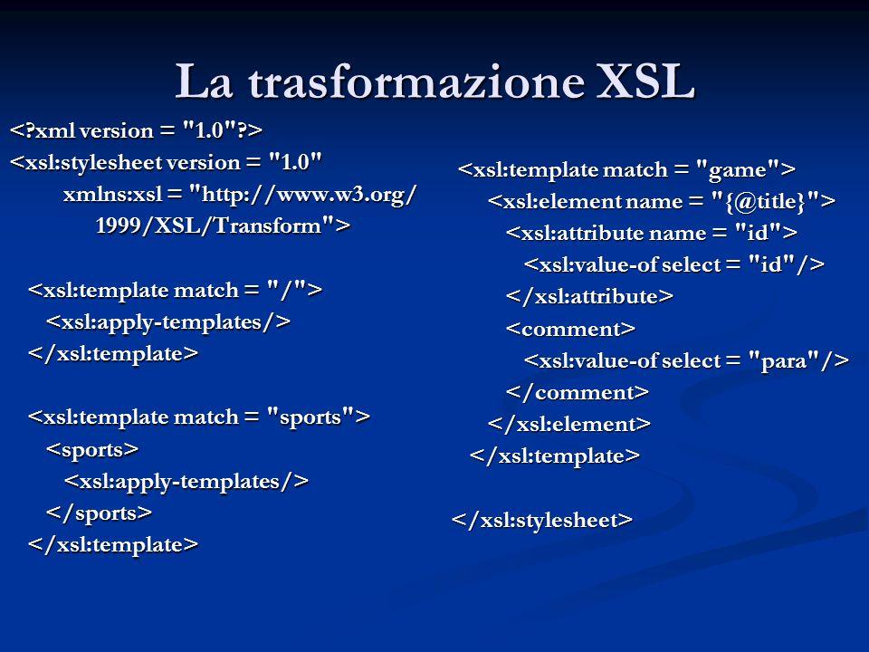 La trasformazione XSL <xsl:stylesheet version =