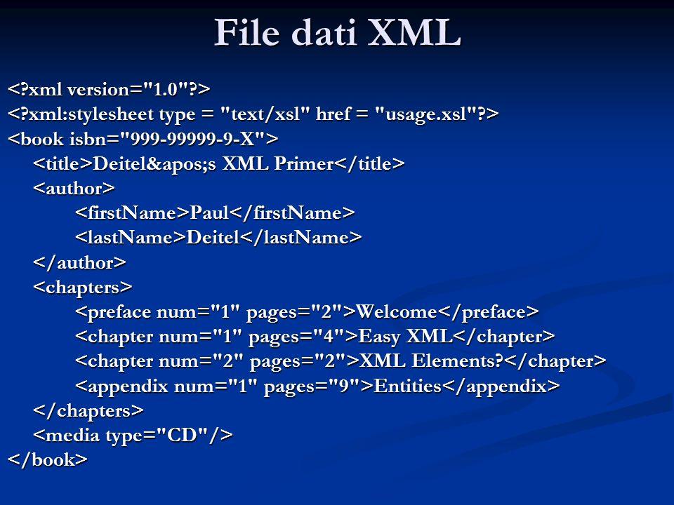 File dati XML Deitel&apos;s XML Primer Deitel&apos;s XML Primer <author><firstName>Paul</firstName><lastName>Deitel</lastName></author><chapters> Welc