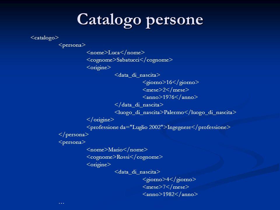 Catalogo persone Luca Sabatucci 16 2 1976 Palermo Ingegnere Mario Rossi 4 7 1982 …