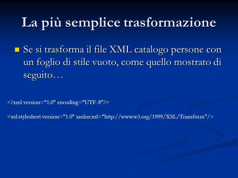 La più semplice trasformazione Se si trasforma il file XML catalogo persone con un foglio di stile vuoto, come quello mostrato di seguito… Se si trasf