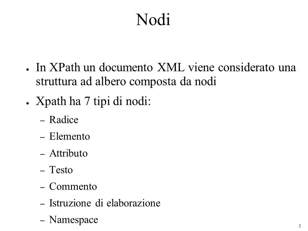 3 Nodi In XPath un documento XML viene considerato una struttura ad albero composta da nodi Xpath ha 7 tipi di nodi: – Radice – Elemento – Attributo – Testo – Commento – Istruzione di elaborazione – Namespace