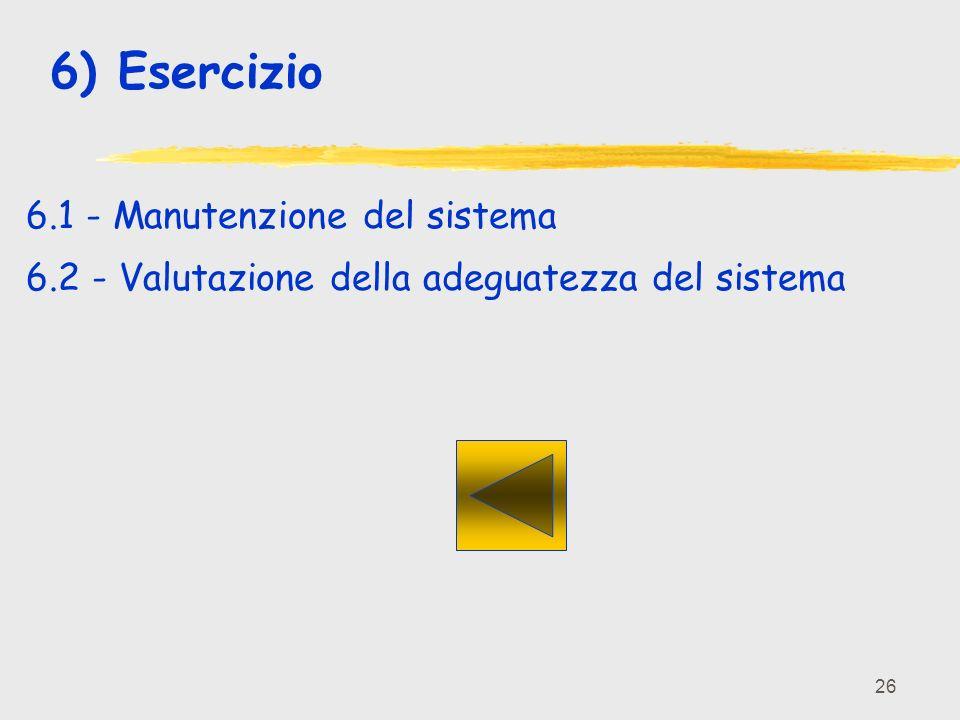 26 6) Esercizio 6.1 - Manutenzione del sistema 6.2 - Valutazione della adeguatezza del sistema