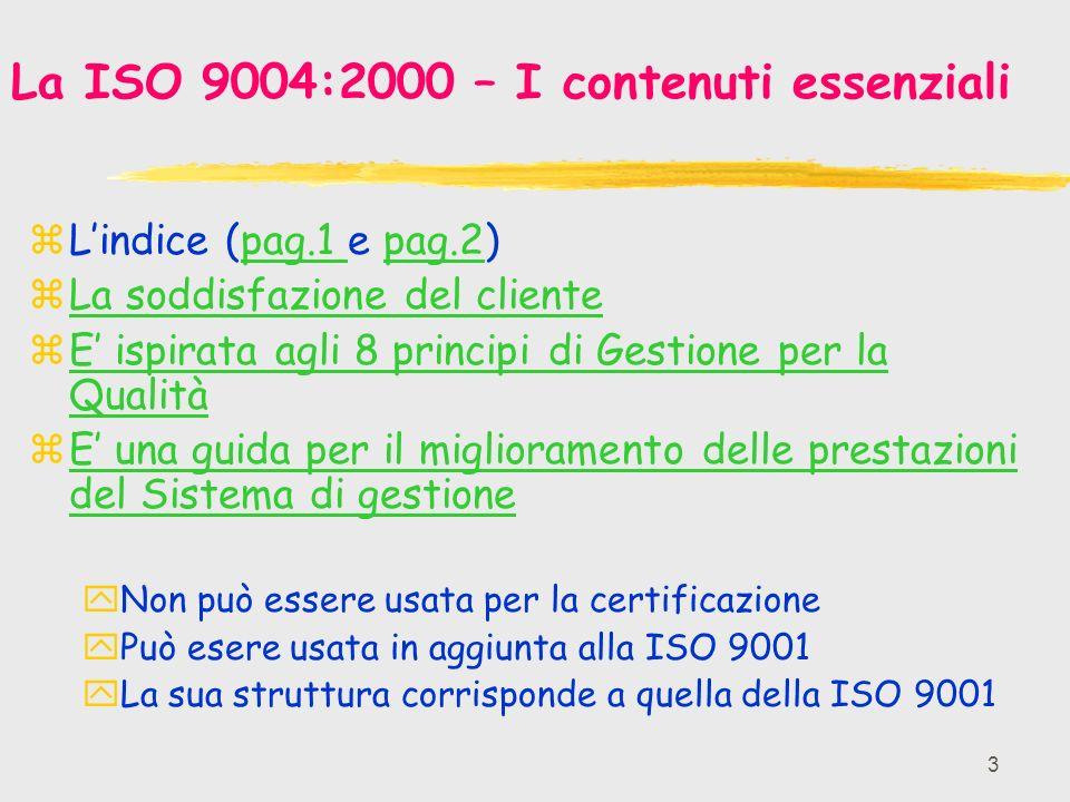 3 La ISO 9004:2000 – I contenuti essenziali zLindice (pag.1 e pag.2)pag.1 pag.2 zLa soddisfazione del clienteLa soddisfazione del cliente zE ispirata agli 8 principi di Gestione per la QualitàE ispirata agli 8 principi di Gestione per la Qualità zE una guida per il miglioramento delle prestazioni del Sistema di gestioneE una guida per il miglioramento delle prestazioni del Sistema di gestione yNon può essere usata per la certificazione yPuò esere usata in aggiunta alla ISO 9001 yLa sua struttura corrisponde a quella della ISO 9001