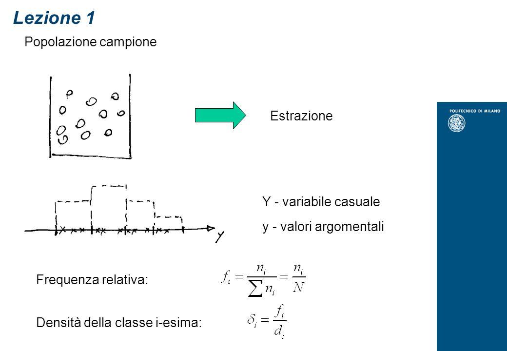 Popolazione campione Y - variabile casuale y - valori argomentali Frequenza relativa: Estrazione Densità della classe i-esima: Lezione 1