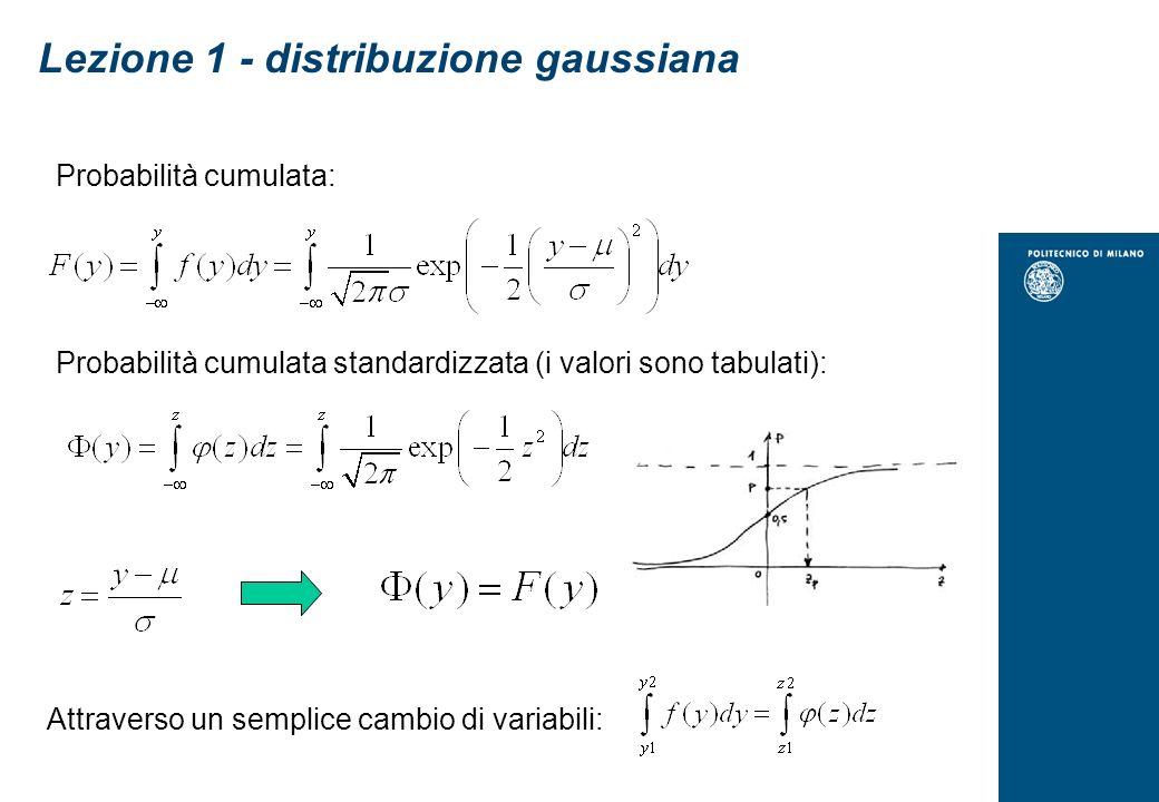 Probabilità cumulata: Probabilità cumulata standardizzata (i valori sono tabulati): Lezione 1 - distribuzione gaussiana Attraverso un semplice cambio di variabili: