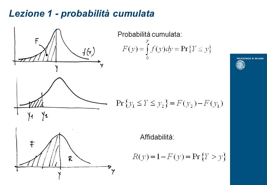 Lezione 1 Media aritmetica campionaria: Valore atteso variabile casuale discreta y: Dove p(y i ) è la probabilità che la variabile y assuma il valore y i Valore atteso variabile casuale continua y: Scarto quadratico medio campionario s: Varianza campionaria s 2 Varianza variabile casuale discreta 2 : Varianza variabile casuale continua 2 : sqm