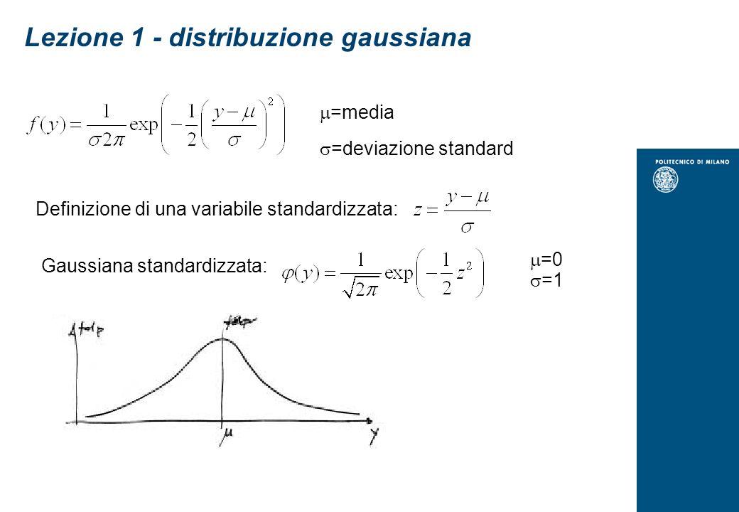 Lezione 1 - distribuzione gaussiana =media =deviazione standard Definizione di una variabile standardizzata: Gaussiana standardizzata: =0 =1