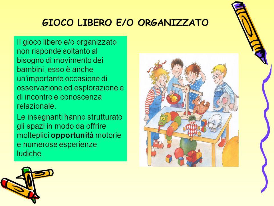 GIOCO LIBERO E/O ORGANIZZATO Il gioco libero e/o organizzato non risponde soltanto al bisogno di movimento dei bambini, esso è anche un importante occasione di osservazione ed esplorazione e di incontro e conoscenza relazionale.
