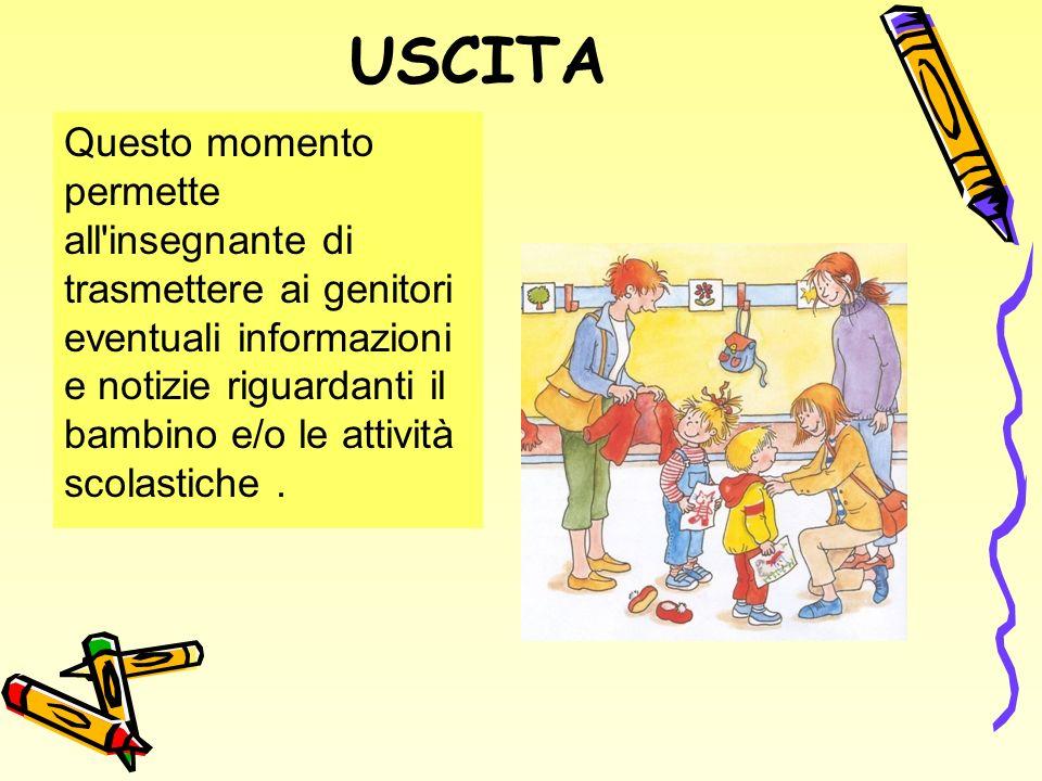 USCITA Questo momento permette all insegnante di trasmettere ai genitori eventuali informazioni e notizie riguardanti il bambino e/o le attività scolastiche.