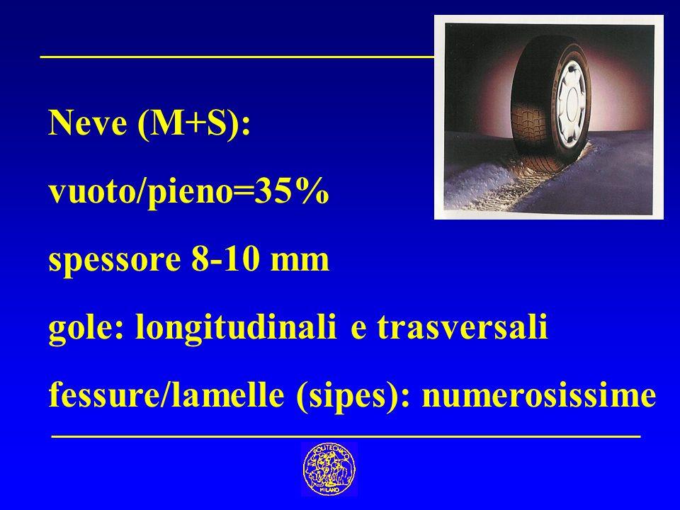 Neve (M+S): vuoto/pieno=35% spessore 8-10 mm gole: longitudinali e trasversali fessure/lamelle (sipes): numerosissime