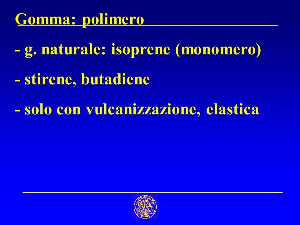 Gomma: polimero - g. naturale: isoprene (monomero) - stirene, butadiene - solo con vulcanizzazione, elastica