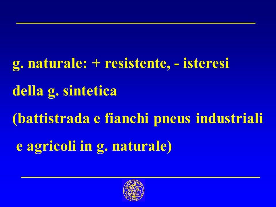 g. naturale: + resistente, - isteresi della g. sintetica (battistrada e fianchi pneus industriali e agricoli in g. naturale)