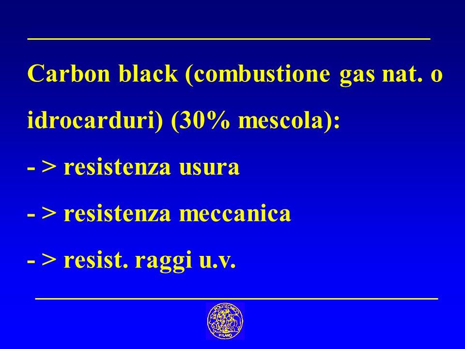 Carbon black (combustione gas nat. o idrocarduri) (30% mescola): - > resistenza usura - > resistenza meccanica - > resist. raggi u.v.