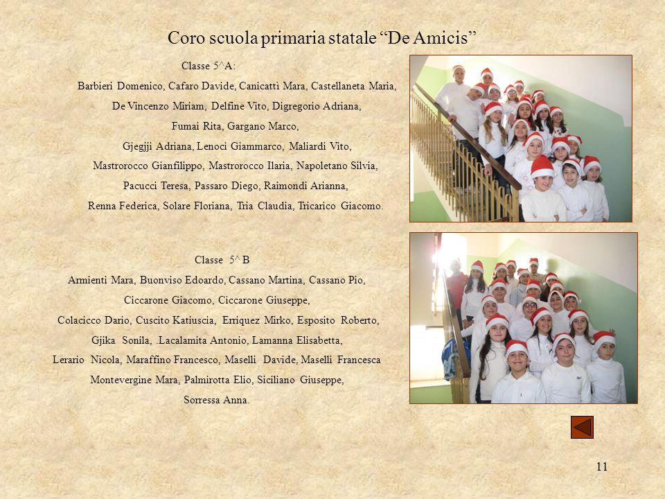 11 Coro scuola primaria statale De Amicis Classe 5^A: Barbieri Domenico, Cafaro Davide, Canicattì Mara, Castellaneta Maria, De Vincenzo Miriam, Delfin