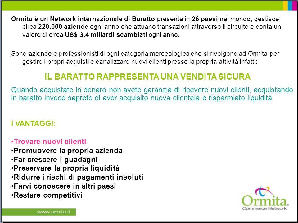 Ormita è un Network internazionale di Baratto presente in 26 paesi nel mondo, gestisce circa 220.000 aziende ogni anno che attuano transazioni attraverso il circuito e conta un valore di circa US$ 3,4 miliardi scambiati ogni anno.