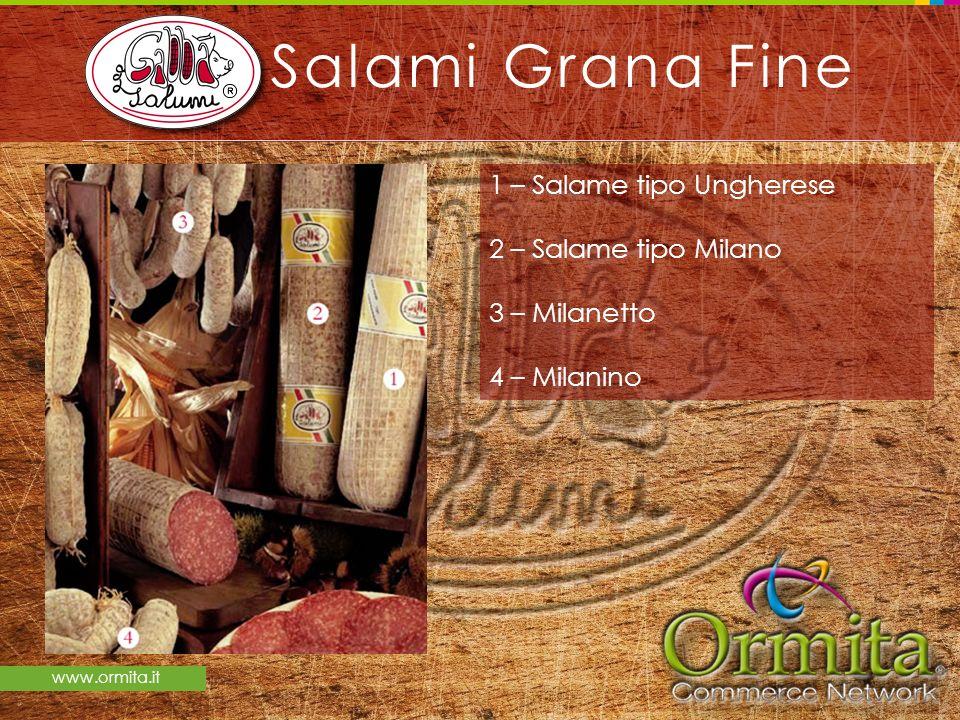www.ormita.it Salami Grana Fine 1 – Salame tipo Ungherese 2 – Salame tipo Milano 3 – Milanetto 4 – Milanino