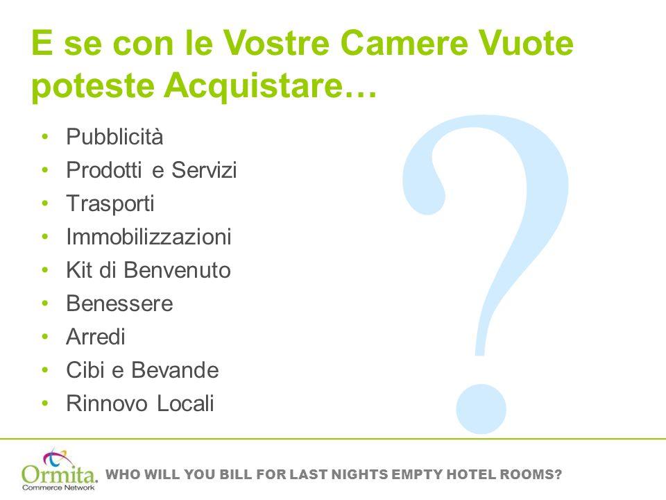 WHO WILL YOU BILL FOR LAST NIGHTS EMPTY HOTEL ROOMS? Pubblicità Prodotti e Servizi Trasporti Immobilizzazioni Kit di Benvenuto Benessere Arredi Cibi e