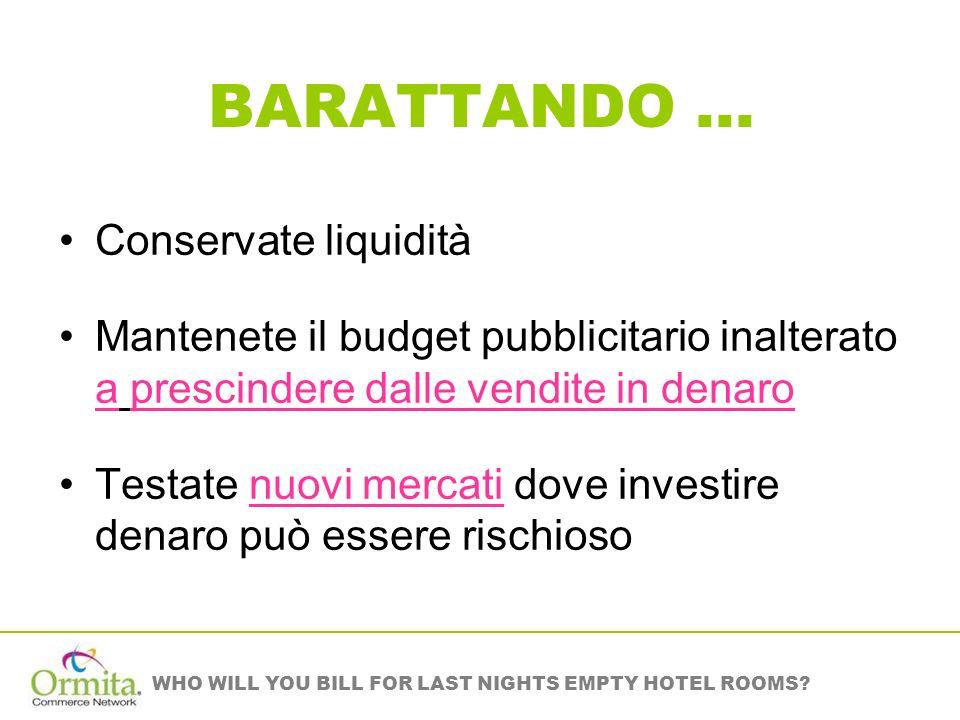 BARATTANDO … Conservate liquidità Mantenete il budget pubblicitario inalterato a prescindere dalle vendite in denaro Testate nuovi mercati dove investire denaro può essere rischioso