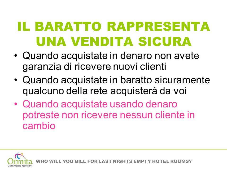 WHO WILL YOU BILL FOR LAST NIGHTS EMPTY HOTEL ROOMS? IL BARATTO RAPPRESENTA UNA VENDITA SICURA Quando acquistate in denaro non avete garanzia di ricev