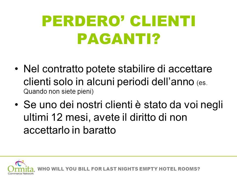 WHO WILL YOU BILL FOR LAST NIGHTS EMPTY HOTEL ROOMS? PERDERO CLIENTI PAGANTI? Nel contratto potete stabilire di accettare clienti solo in alcuni perio
