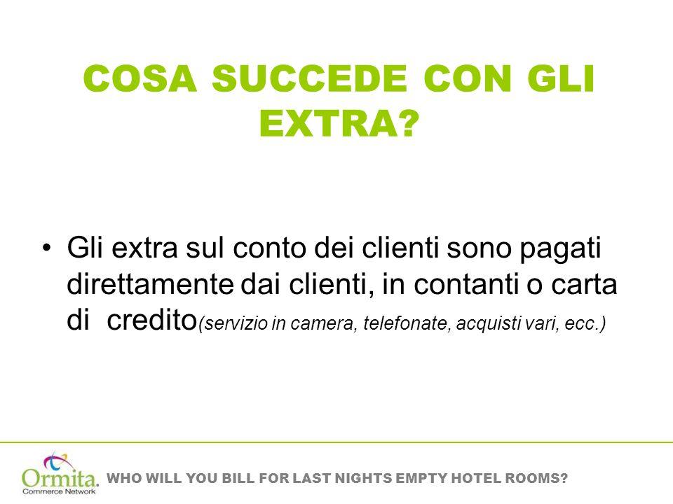 WHO WILL YOU BILL FOR LAST NIGHTS EMPTY HOTEL ROOMS? COSA SUCCEDE CON GLI EXTRA? Gli extra sul conto dei clienti sono pagati direttamente dai clienti,