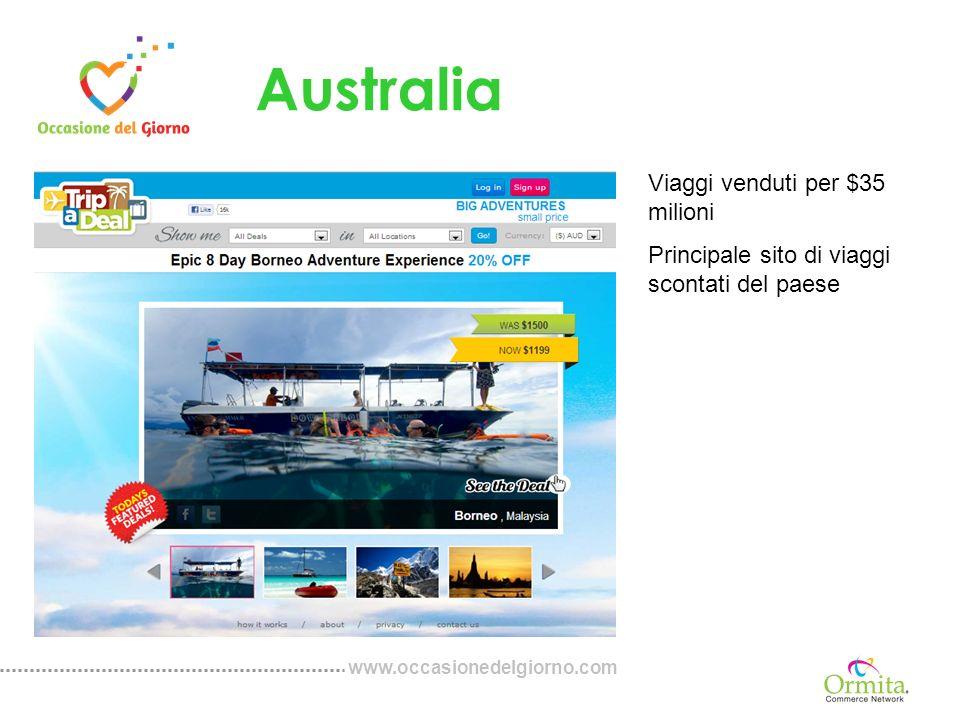 www.occasionedelgiorno.com Australia Viaggi venduti per $35 milioni Principale sito di viaggi scontati del paese