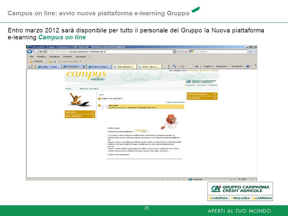 21 Entro marzo 2012 sarà disponibile per tutto il personale del Gruppo la Nuova piattaforma e-learning Campus on line Campus on line: avvio nuova piat
