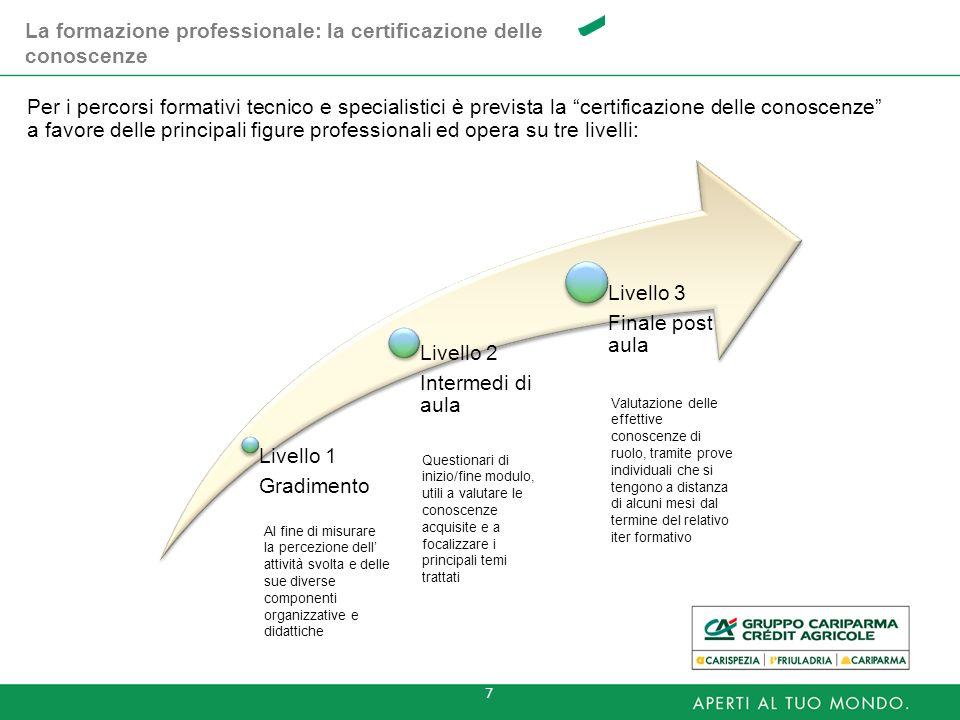 7 Per i percorsi formativi tecnico e specialistici è prevista la certificazione delle conoscenze a favore delle principali figure professionali ed ope
