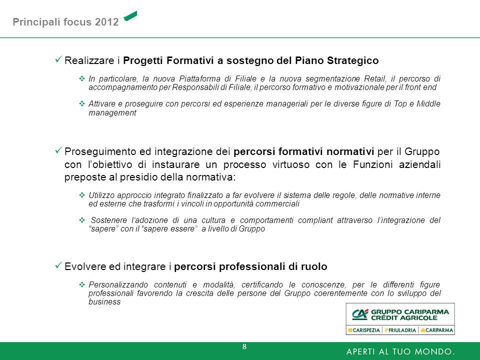 8 Realizzare i Progetti Formativi a sostegno del Piano Strategico In particolare, la nuova Piattaforma di Filiale e la nuova segmentazione Retail, il